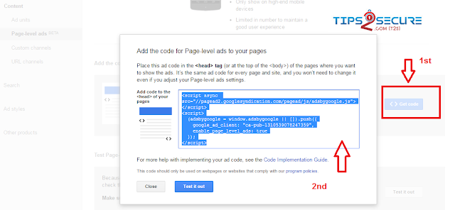 Getting code to activate page level ads