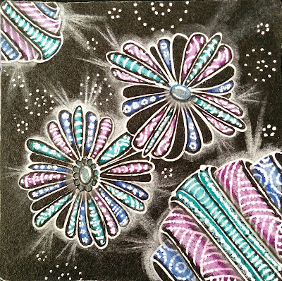 zentangle glow on the dark with color