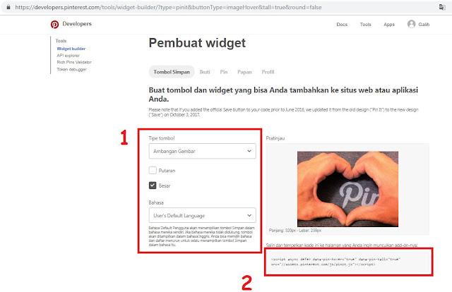 Cara Memasang Tombol Pinterest di Gambar Blogger