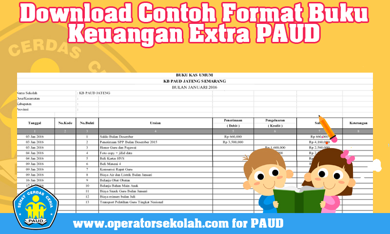 Download Contoh Format Buku Keuangan Extra PAUD