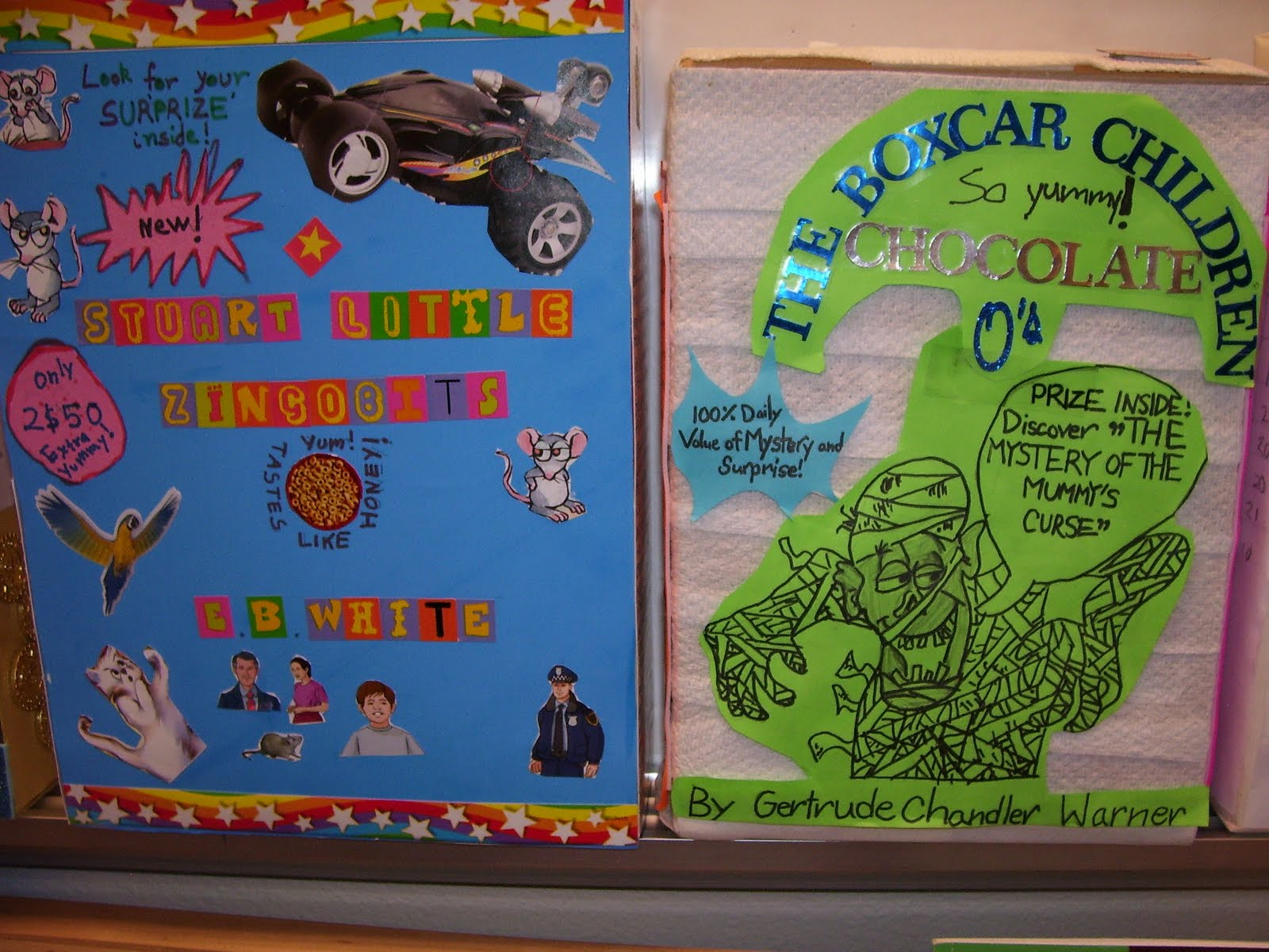 Cereal box book report of Charlie and the Chocolate Factory: 4th Grade book report