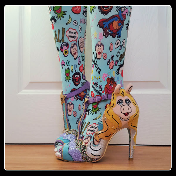 wearing Irregular Choice Miss Piggy sandals with Disney Muppets tights