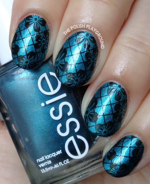 Dark Teal Pearl with Black Floral Lace Stamping Nail Art