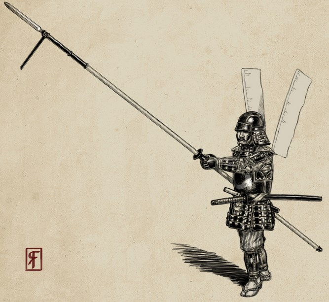 Samurai in use of Naginata Sword and spears