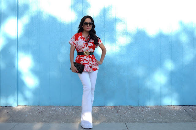 Joanna Joy A Stylish Love Story fashion blog Hawaiian Shirt Red and White Shirt White Jbrand Denim Gucci Bamboo Glasses Gucci Red Suede Platforms petite fashion blogger California fashion blogger white jeans beaded black and gold evening bag blue wall