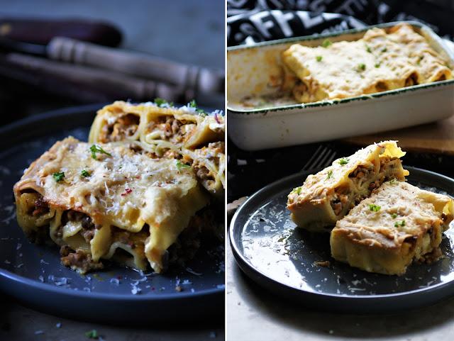Cannelloni mit würziger Füllung aus Hackfeisch, Feta, Pilzen und Karotten