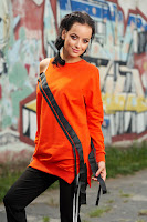 Bluza dama portocalie casual din bumbac cu maneca lunga