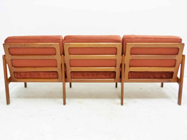 Teak Three-Seater Sofa by Illum Wikkelso Danish Modern Back
