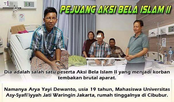 Pak Presiden Jokowi, Ini Arya Dewanto Korban Tembakan Aparat Saat Aksi 411, Dia Hanya Ingin Bertemu