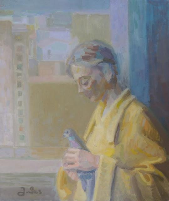 obra de arte impresionista mujer paloma pintor aragonés Jesús Sus