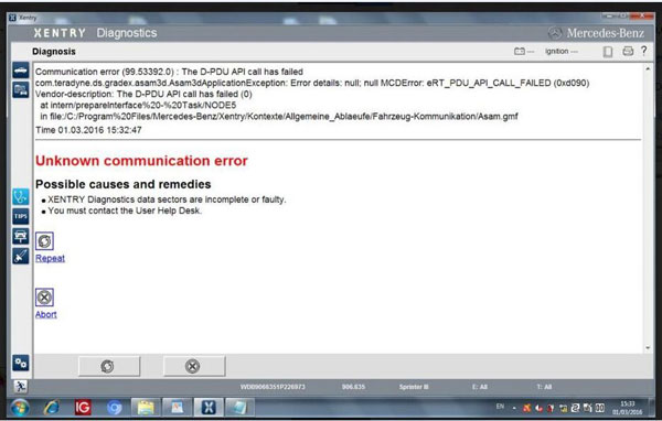 xentry-communication-error