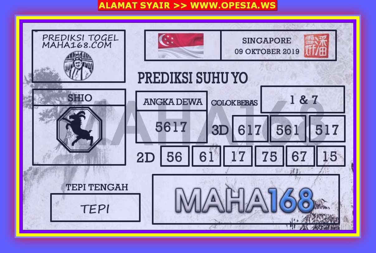 Kode syair Singapore Rabu 9 Oktober 2019 83