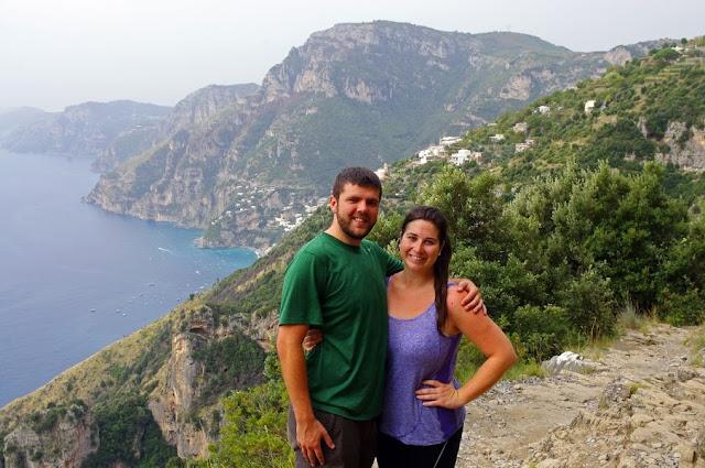 Couple Hiking on Amalfi Coast in Italy