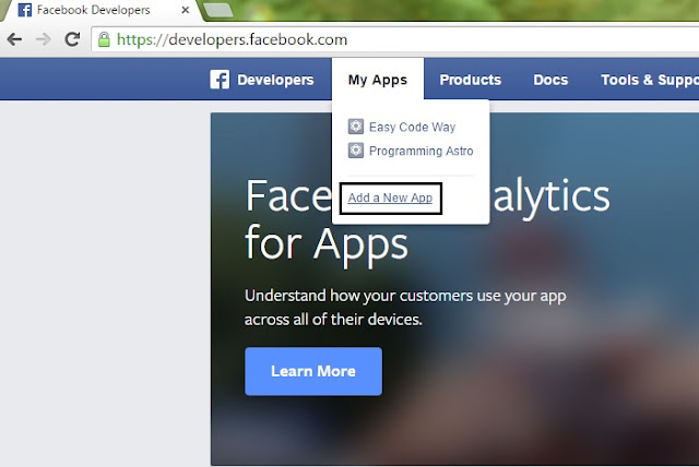 Create New Facebook App in name of your fake device