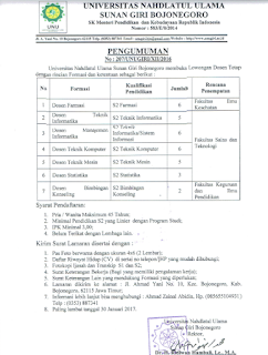 Lowongan Dosen Universitas Nahdlatul Ulama Sunan Giri Bojonegoro 2017