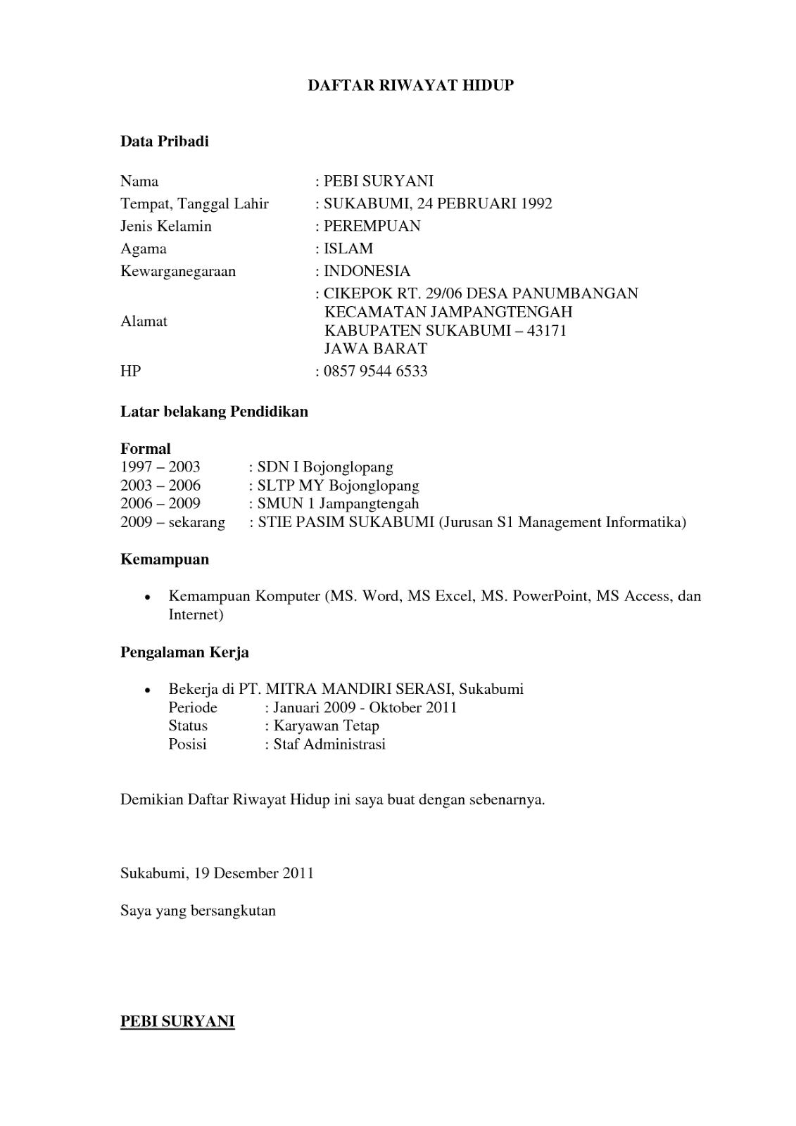 Contoh Daftar Riwayat Hidup Baru Lulus Sekolah Feed News Indonesia