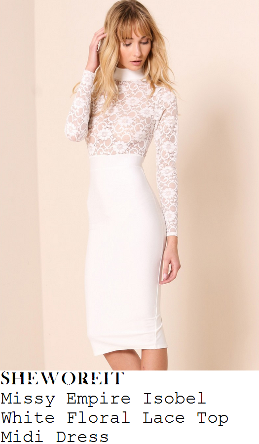 lauren-pope-white-floral-lace-panel-long-sleeve-high-turtle-neck-bodycon-midi-dress-instagram