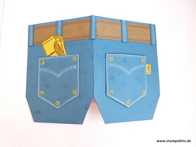stempelitis anleitung f r jeanshosenkarte als geldgeschenk. Black Bedroom Furniture Sets. Home Design Ideas