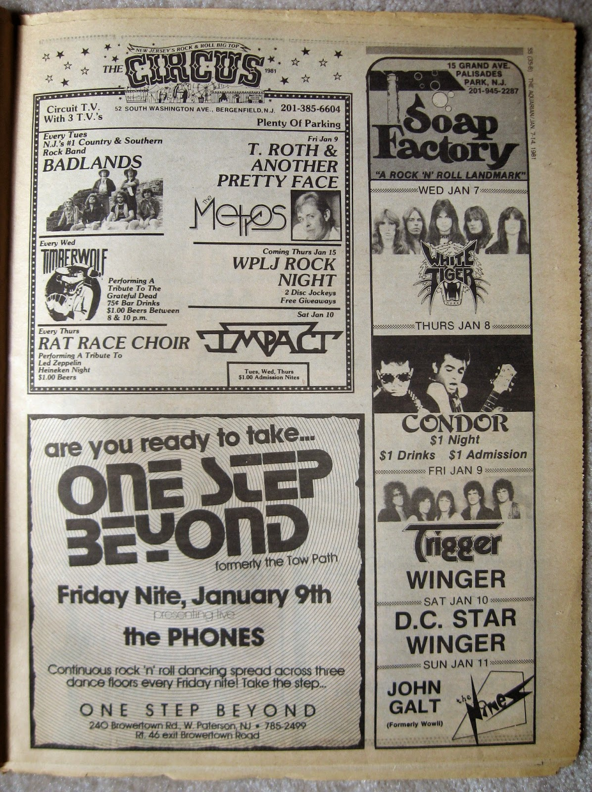 The Circus - Soap Factory - One Step Beyond band line ups 1981