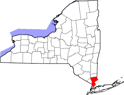 Climbing My Family Tree: New York State with Westchester County in red