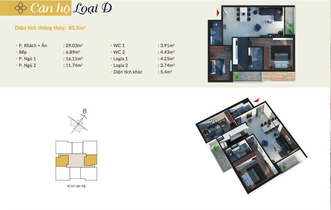 Thiết kế căn hộ loại D chung cư Bohemia Residence