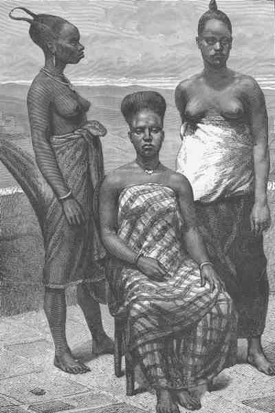 Fante women of Elmina Edina in Gold coast Ghana with their hairstyle in a wooden engraved drawing 1800 - 1895