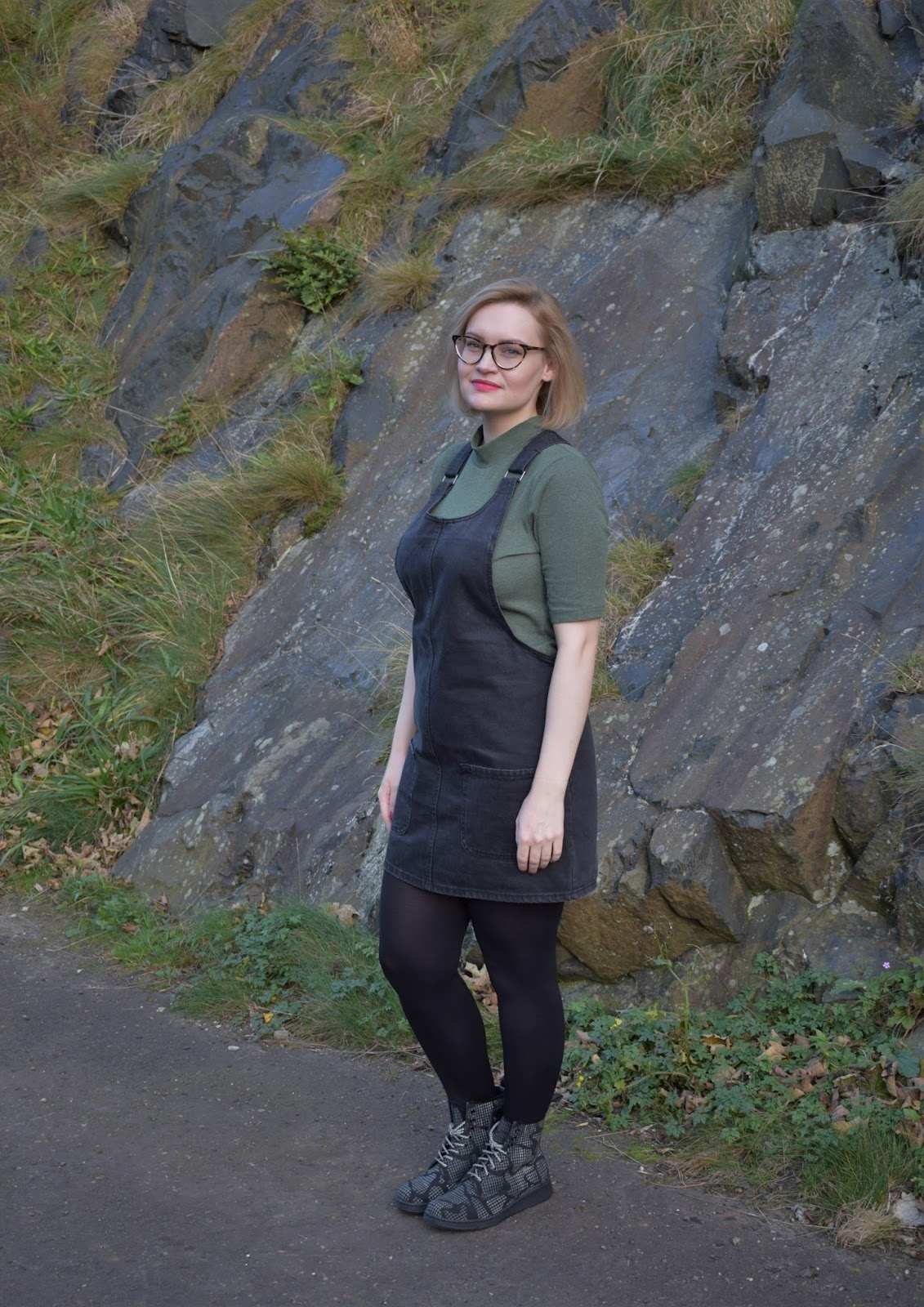 Dr Martens Newton reflective boots, Scottish winter style, Halloween collection, denim pinafore trend, Scottish style blogger, UK fashion trends, dressing for cold weather in Scotland,