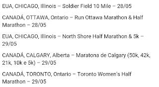 Corridas 2016 Estados Unidos e Canadá