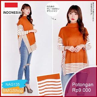NAG135 Fjco Baju Atasan Fashion Wanita Rajut Batwing Knit Bmgshop