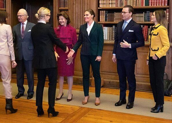 Crown Princess Victoria wore a suit by Tiger of Sweden. Princess Sofia wore a new yellow tweed jacket by LK. Bennett