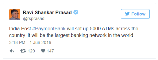 India Post Payment Bank will set up 5000 ATMs across the country
