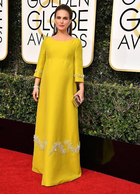 Natalie Portman in yellow dress by Prada
