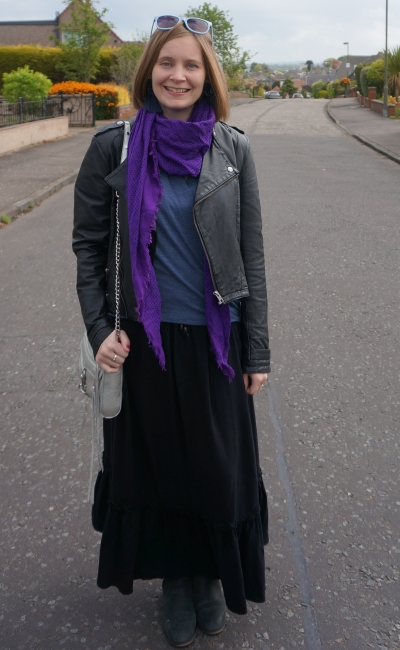 maxi skirt in winter with leather jacket ankle boots purple scarf | away from blue
