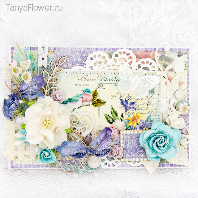 открытка с цветами бабочками и птицами