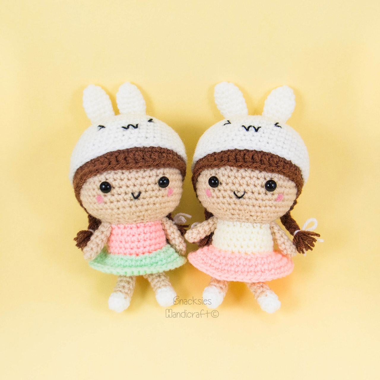 Amigurumi Bunny Girl : Girl Doll with Bunny Hat Pattern ~ Snacksies Handicraft Corner