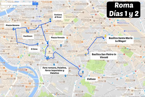 Recorrido por Roma. Días 1 y 2. 5 días en Roma