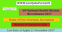 National Health Mission Recruitment 2017– 854 Assistant, Accountant