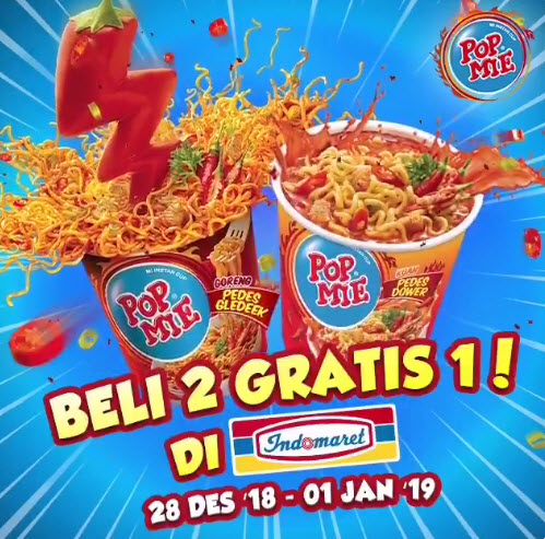#Indomaret - Promo Beli 2 Gratis 1 POP Mie Goreng Pedes Gledek Atau Kuah Pedes Dower