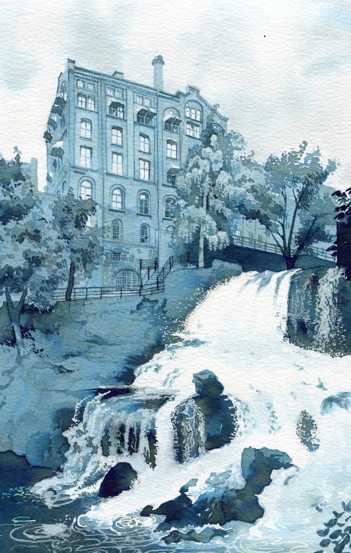 04-Oslo-Akerselva-Waterfall-Rupert-Taylor-Blue-Architectural-Urban-Drawings-www-designstack-co