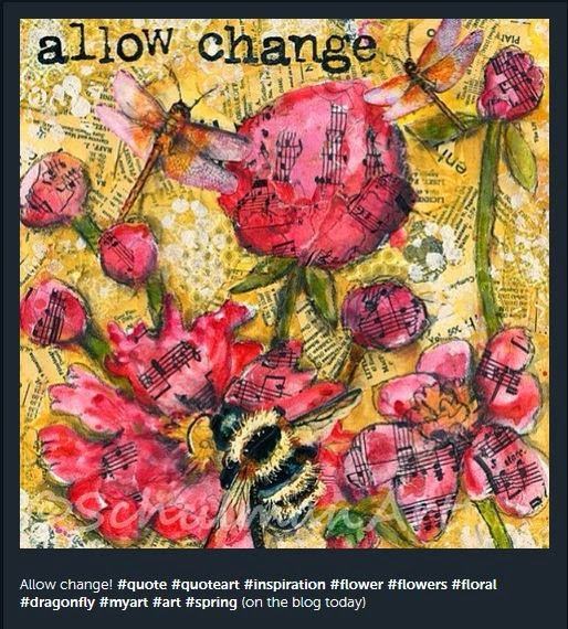 mixed media collage art | allow change | by SchulmanArt