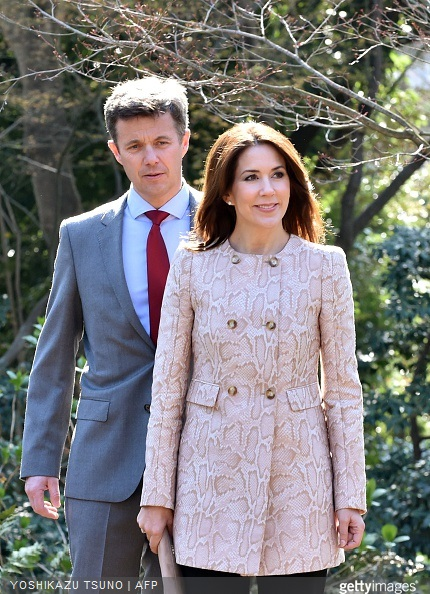 Danish Crown princess Mary and Crown Prince Frederik arrive at a traditional Japanese garden to meet young Japanese students and education workers in Tokyo