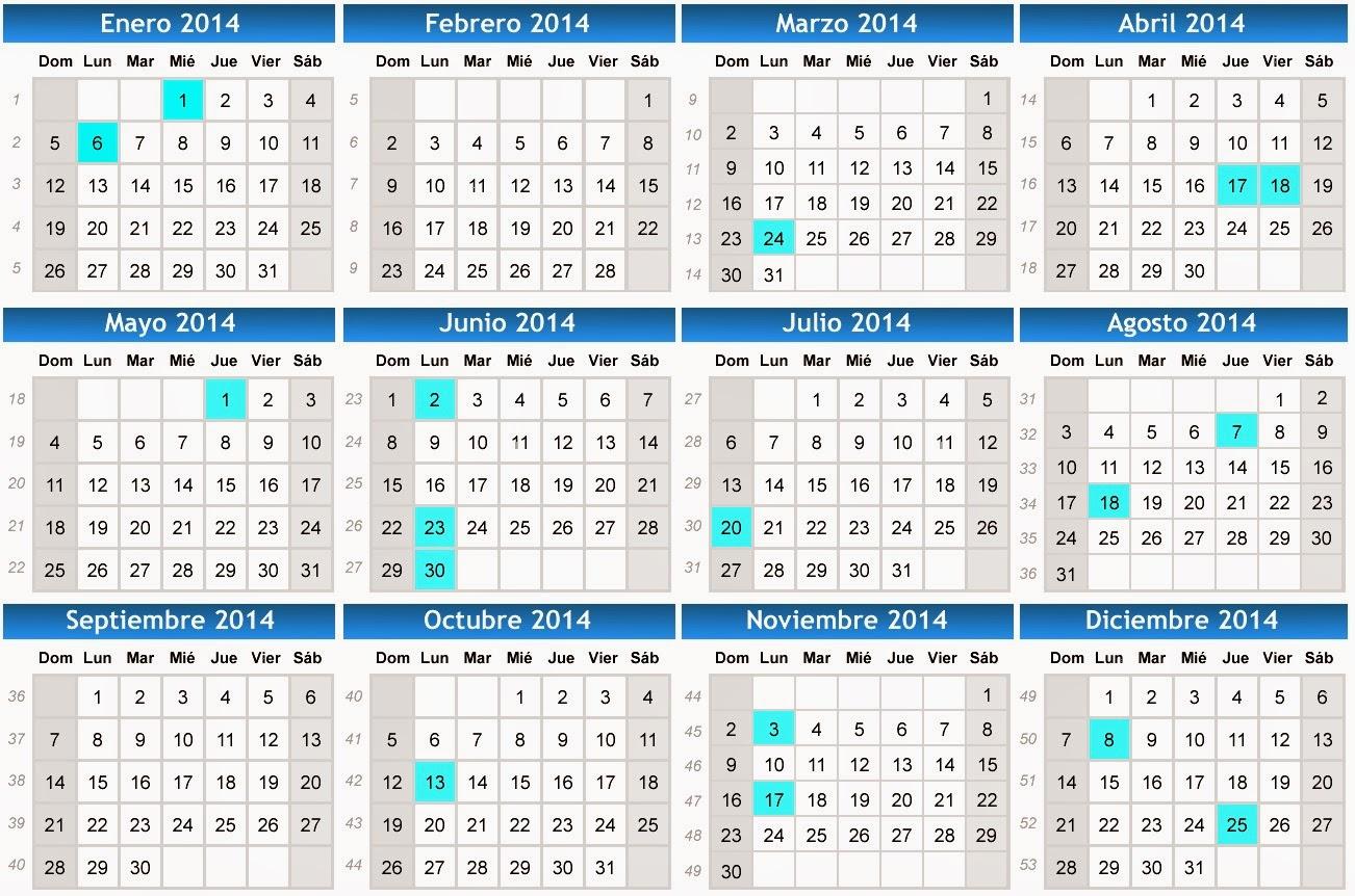 Calendario 2019 Y 2020 Con Festivos Para Colombia.Calendario 2014 Festivos 2014 Calendario De Colombia