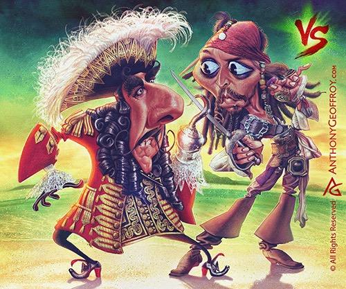 Hook vs Jack Sparrow por Anthony Geoffroy
