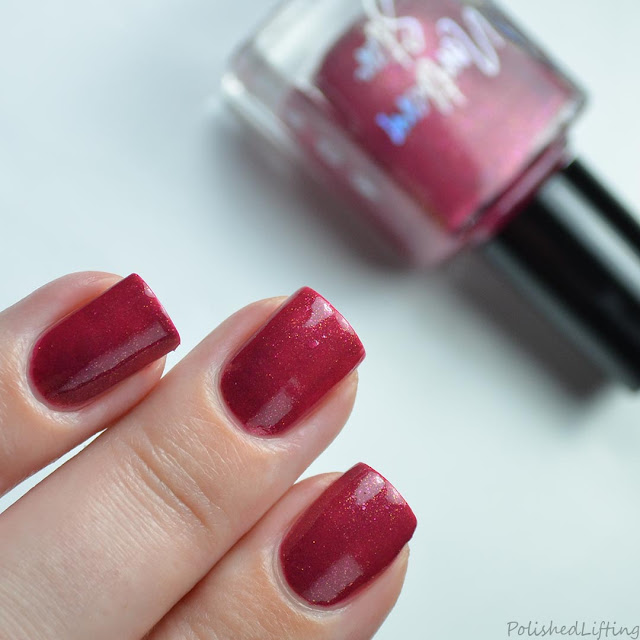 red nail polish with shimmer