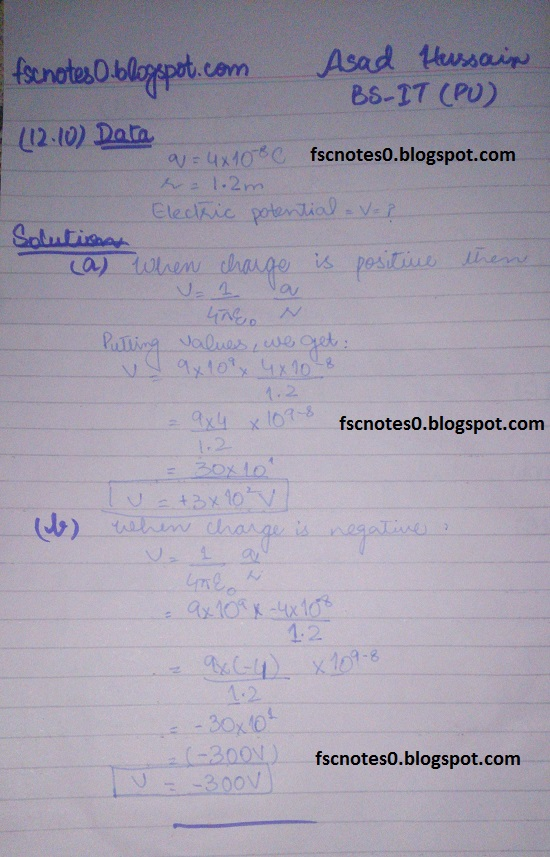 F.Sc ICS Notes: Physics XII: Chapter 12 Electrostatics Numerical Problems by Asad Hussain 11