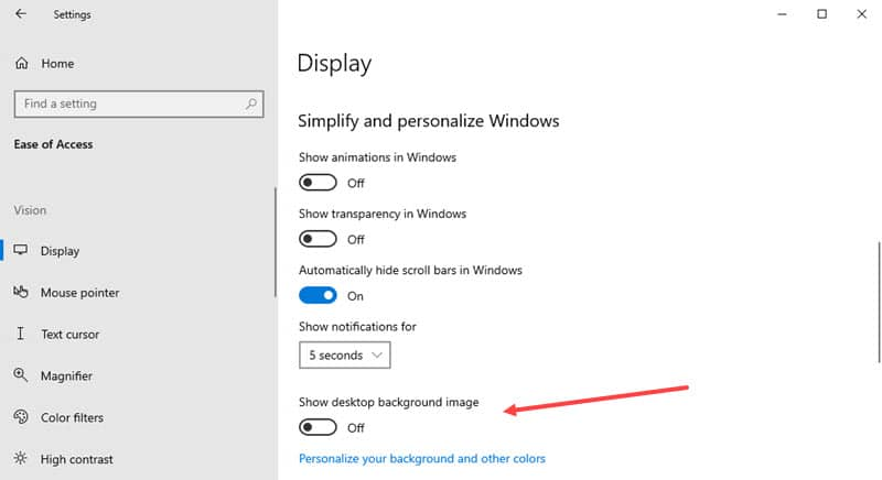 How to turn on desktop background on Windows 10