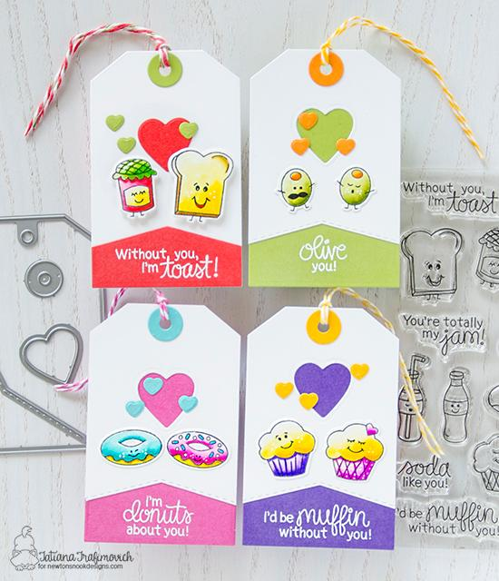 Foodie Valentine Gift Tags by Tatiana Trafimovich | Love Bites Stamp Set by Newton's Nook Designs #newtonsnook #handmade