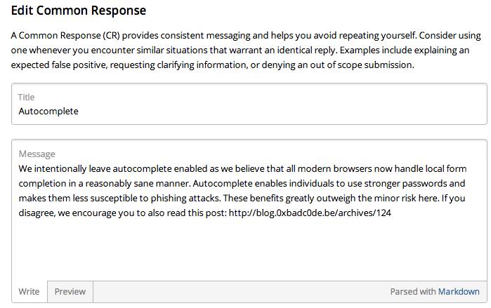 HackerOne Vulnerability: Common Response Title Leak through