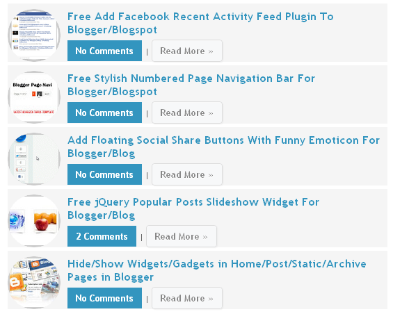 Free Stylish Recent Posts Widget With Thumbnail From a