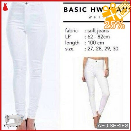AFO231 Model Fashion HW Jeans White Highwaist Modis Murah BMGShop